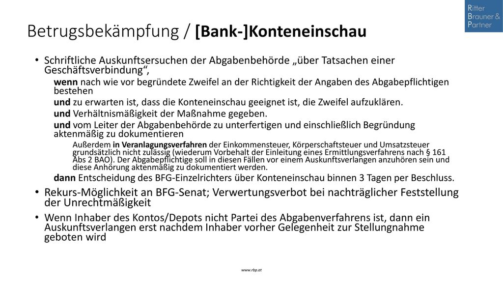 Betrugsbekämpfung / [Bank-]Konteneinschau
